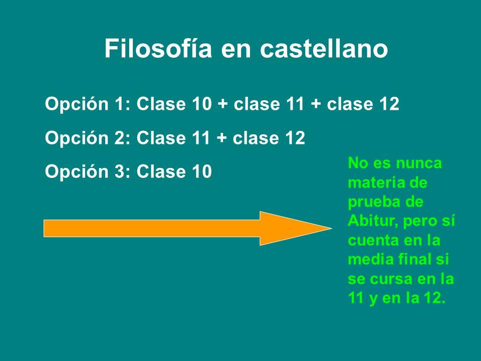 Filosofía en castellano Opción 1: Clase 10 + clase 11 + clase 12 Opción 2: Clase 11 + clase 12 Opción 3: Clase 10 No es nunca materia de prueba de Abi