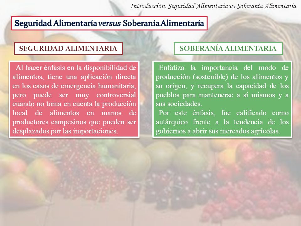 Introducción. Seguridad Alimentaria vs Soberanía Alimentaria SEGURIDAD ALIMENTARIASOBERANÍA ALIMENTARIA Al hacer énfasis en la disponibilidad de alime