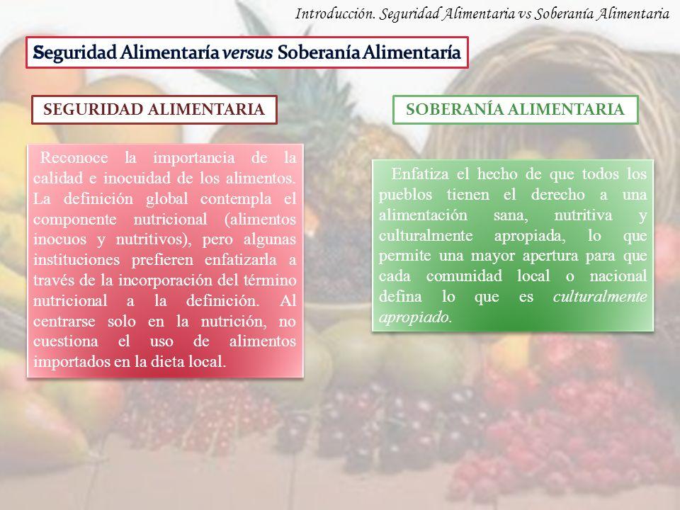 Introducción. Seguridad Alimentaria vs Soberanía Alimentaria SEGURIDAD ALIMENTARIASOBERANÍA ALIMENTARIA Reconoce la importancia de la calidad e inocui