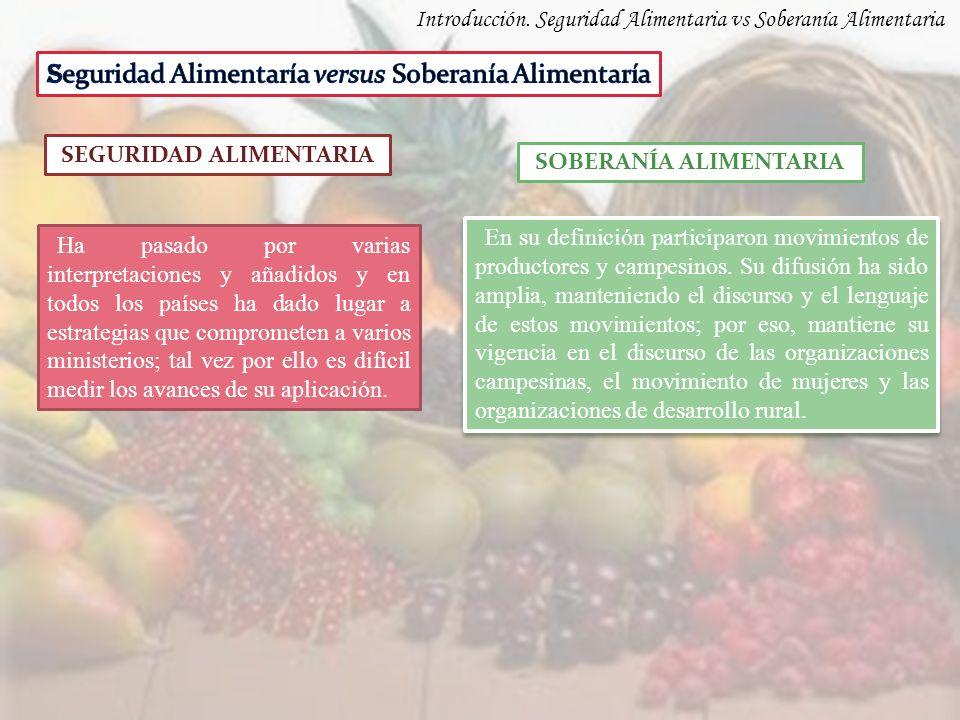 Introducción. Seguridad Alimentaria vs Soberanía Alimentaria SEGURIDAD ALIMENTARIA SOBERANÍA ALIMENTARIA Ha pasado por varias interpretaciones y añadi