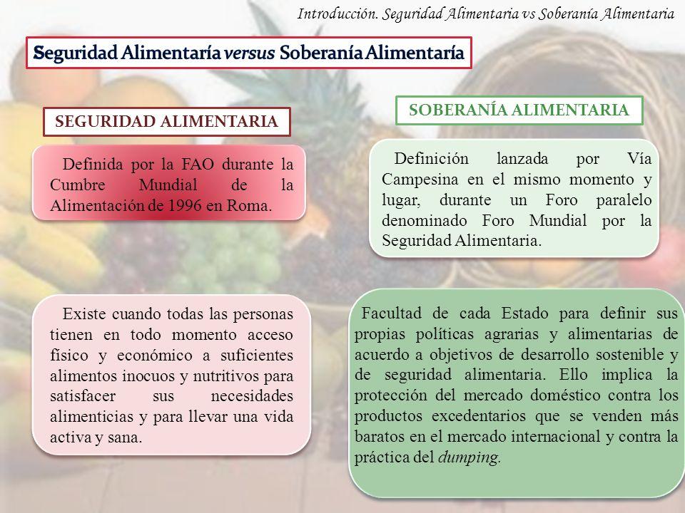 Definida por la FAO durante la Cumbre Mundial de la Alimentación de 1996 en Roma. Definición lanzada por Vía Campesina en el mismo momento y lugar, du