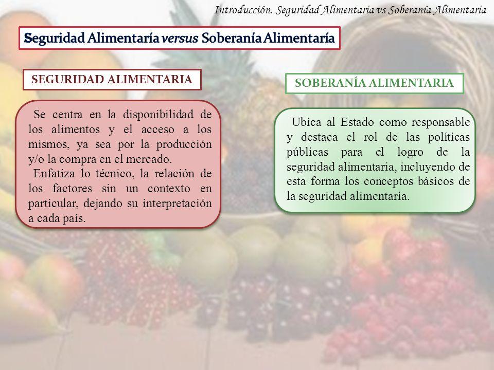 Introducción. Seguridad Alimentaria vs Soberanía Alimentaria SOBERANÍA ALIMENTARIA Se centra en la disponibilidad de los alimentos y el acceso a los m