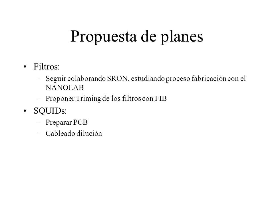 Propuesta de planes Filtros: –Seguir colaborando SRON, estudiando proceso fabricación con el NANOLAB –Proponer Triming de los filtros con FIB SQUIDs: –Preparar PCB –Cableado dilución