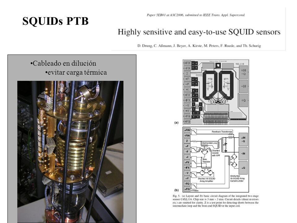 Cableado en dilución evitar carga térmica SQUIDs PTB