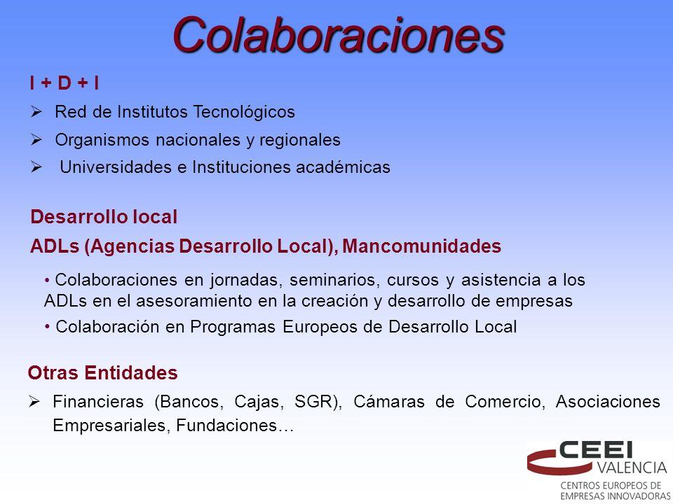 Colaboraciones I + D + I Red de Institutos Tecnológicos Organismos nacionales y regionales Universidades e Instituciones académicas Desarrollo local A