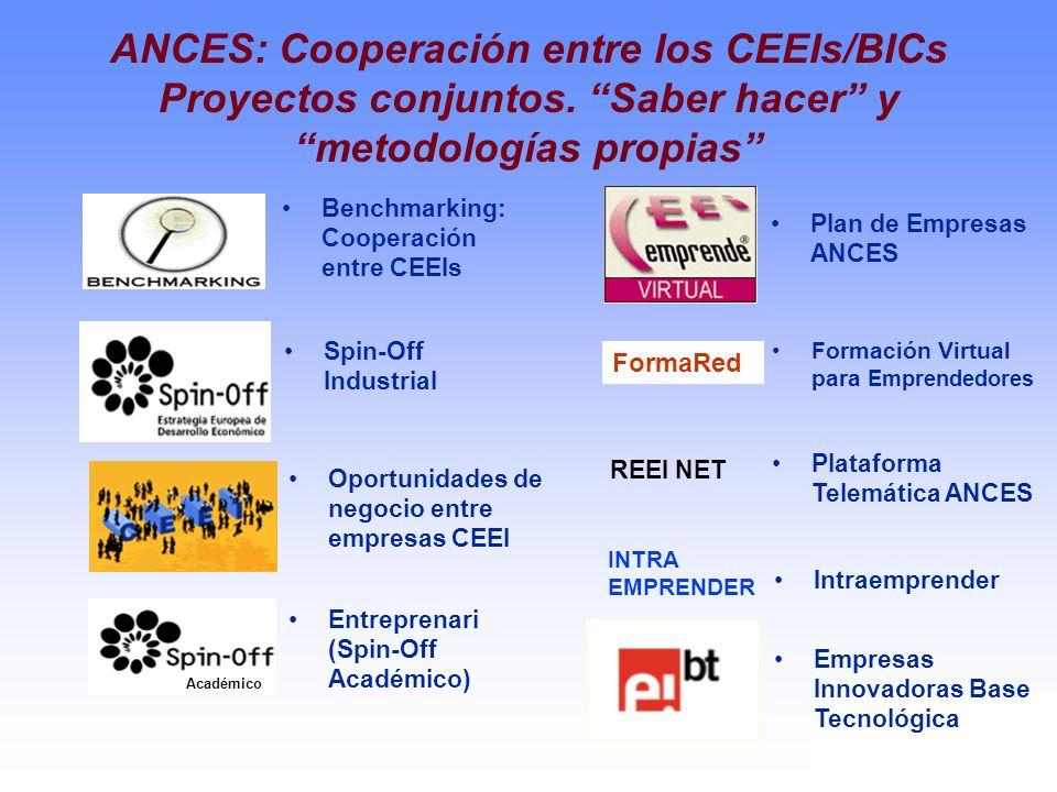 Benchmarking: Cooperación entre CEEIs Spin-Off Industrial Oportunidades de negocio entre empresas CEEI Entreprenari (Spin-Off Académico) Académico Pla