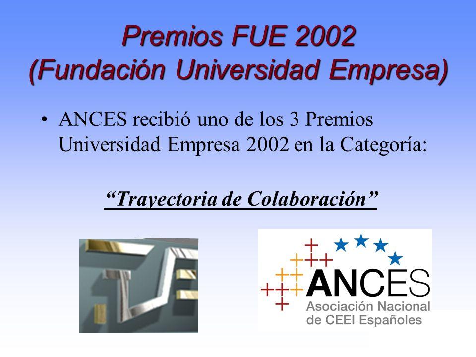 Premios FUE 2002 (Fundación Universidad Empresa) ANCES recibió uno de los 3 Premios Universidad Empresa 2002 en la Categoría: Trayectoria de Colaborac
