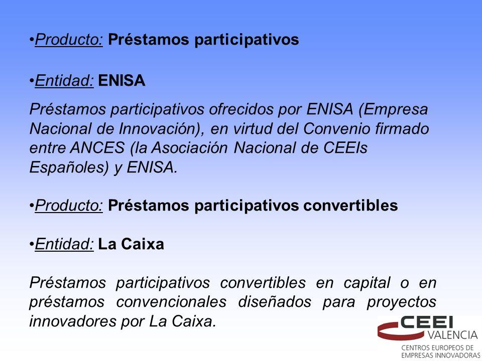 Producto: Préstamos participativos Entidad: ENISA Préstamos participativos ofrecidos por ENISA (Empresa Nacional de Innovación), en virtud del Conveni