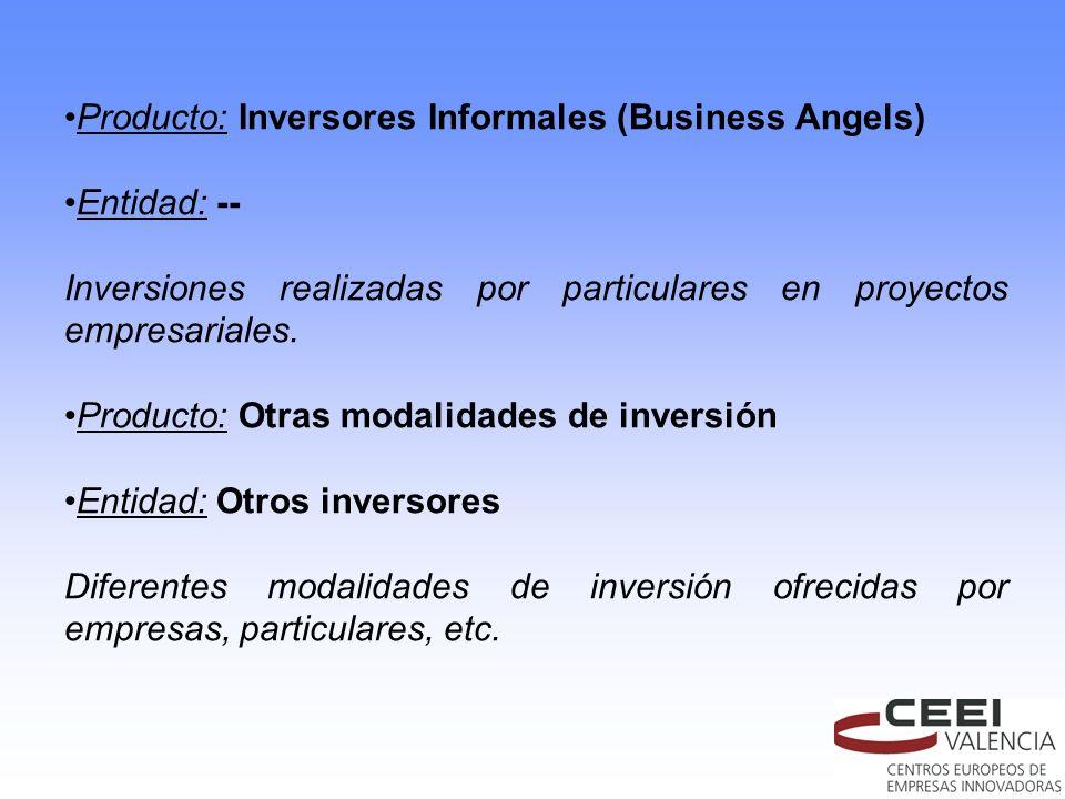 Producto: Inversores Informales (Business Angels) Entidad: -- Inversiones realizadas por particulares en proyectos empresariales. Producto: Otras moda