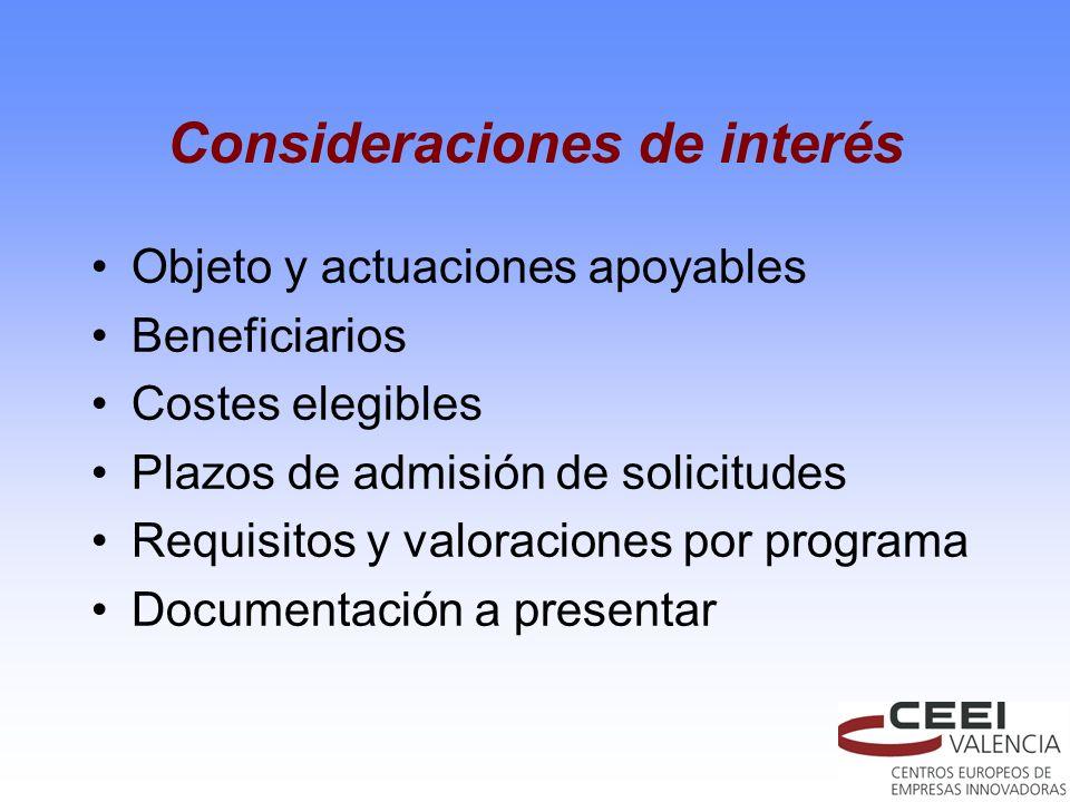 Consideraciones de interés Objeto y actuaciones apoyables Beneficiarios Costes elegibles Plazos de admisión de solicitudes Requisitos y valoraciones p
