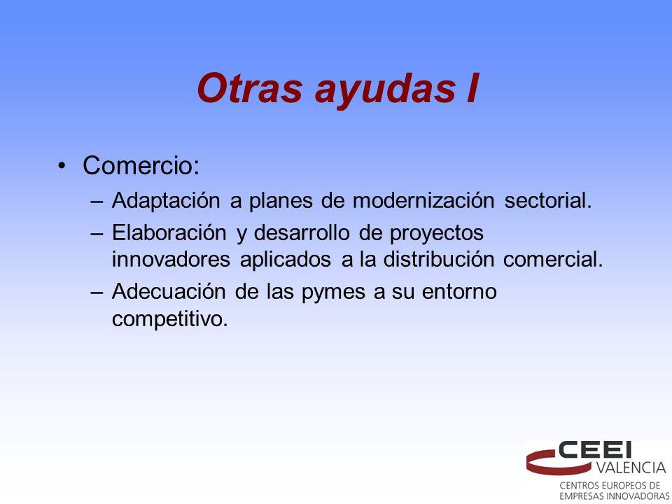 Otras ayudas I Comercio: –Adaptación a planes de modernización sectorial. –Elaboración y desarrollo de proyectos innovadores aplicados a la distribuci