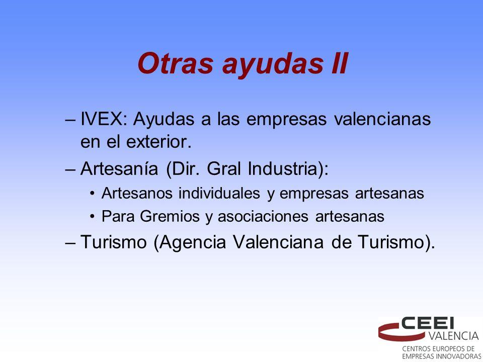 Otras ayudas II –IVEX: Ayudas a las empresas valencianas en el exterior. –Artesanía (Dir. Gral Industria): Artesanos individuales y empresas artesanas