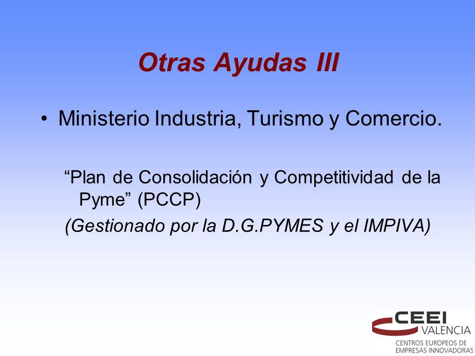 Otras Ayudas III Ministerio Industria, Turismo y Comercio. Plan de Consolidación y Competitividad de la Pyme (PCCP) (Gestionado por la D.G.PYMES y el