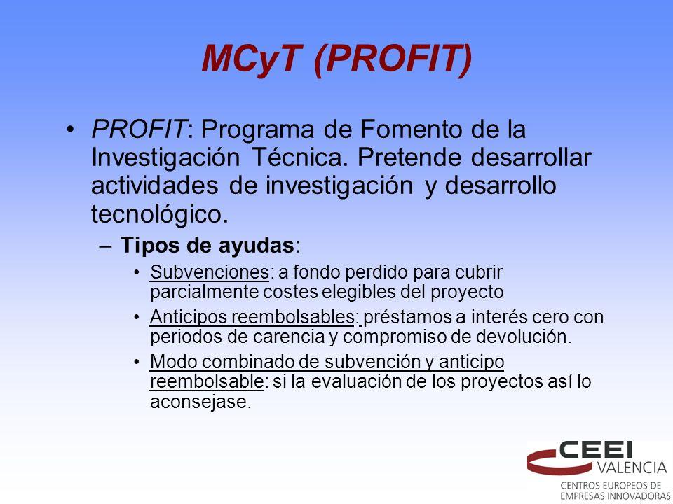 MCyT (PROFIT) PROFIT: Programa de Fomento de la Investigación Técnica. Pretende desarrollar actividades de investigación y desarrollo tecnológico. –Ti