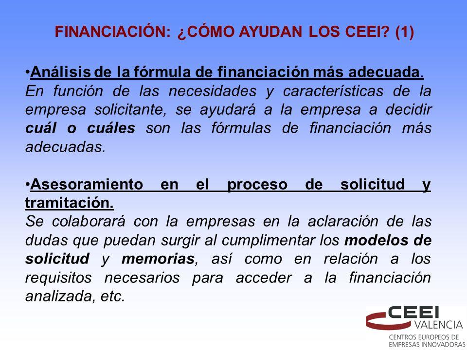FINANCIACIÓN: ¿CÓMO AYUDAN LOS CEEI? (1) Análisis de la fórmula de financiación más adecuada. En función de las necesidades y características de la em