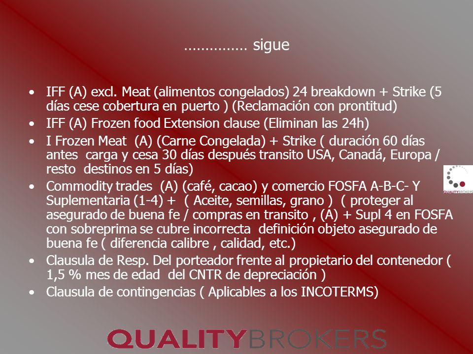 …………… sigue IFF (A) excl. Meat (alimentos congelados) 24 breakdown + Strike (5 días cese cobertura en puerto ) (Reclamación con prontitud) IFF (A) Fro