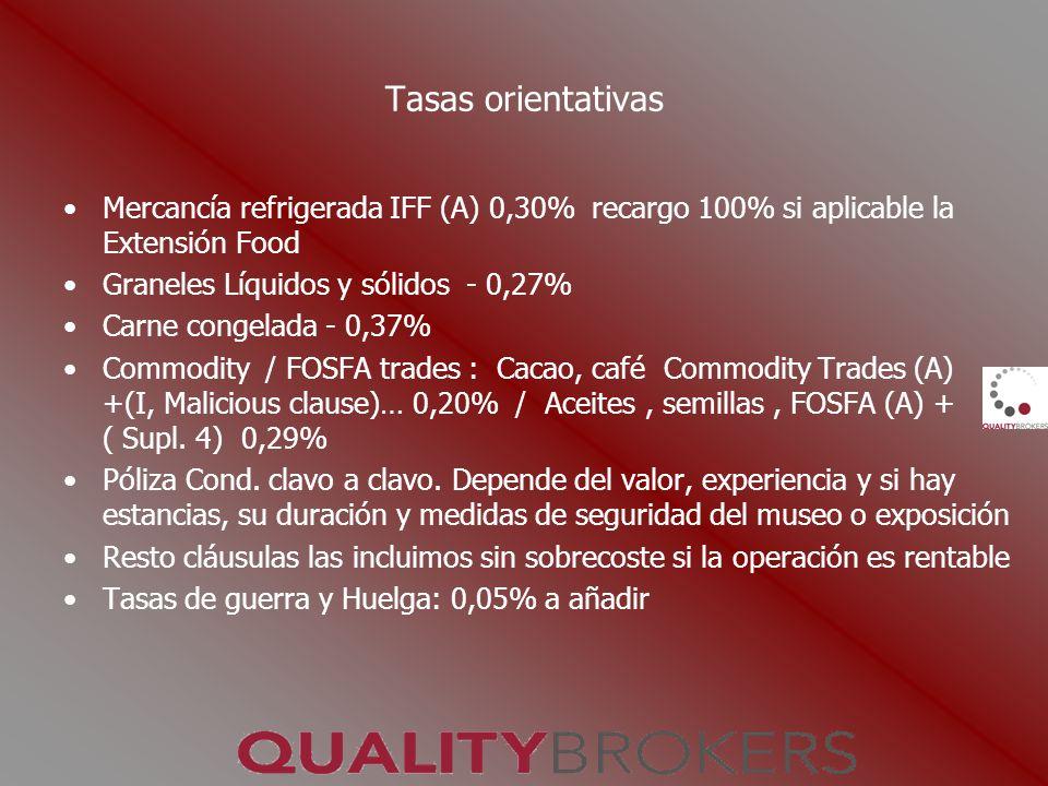 Tasas orientativas Mercancía refrigerada IFF (A) 0,30% recargo 100% si aplicable la Extensión Food Graneles Líquidos y sólidos - 0,27% Carne congelada