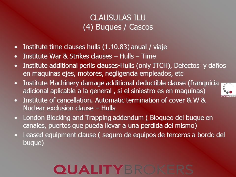 CLAUSULAS ILU (4) Buques / Cascos Institute time clauses hulls (1.10.83) anual / viaje Institute War & Strikes clauses – Hulls – Time Institute additi