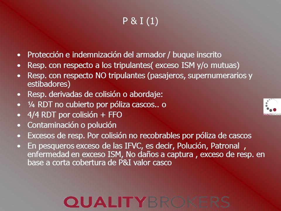 P & I (1) Protección e indemnización del armador / buque inscrito Resp. con respecto a los tripulantes( exceso ISM y/o mutuas) Resp. con respecto NO t