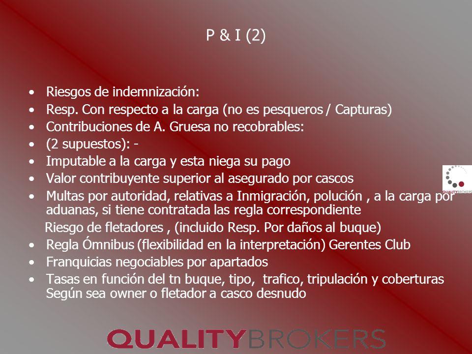 P & I (2) Riesgos de indemnización: Resp. Con respecto a la carga (no es pesqueros / Capturas) Contribuciones de A. Gruesa no recobrables: (2 supuesto