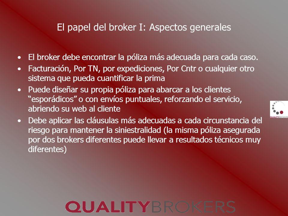 El papel del broker I: Aspectos generales El broker debe encontrar la póliza más adecuada para cada caso. Facturación, Por TN, por expediciones, Por C
