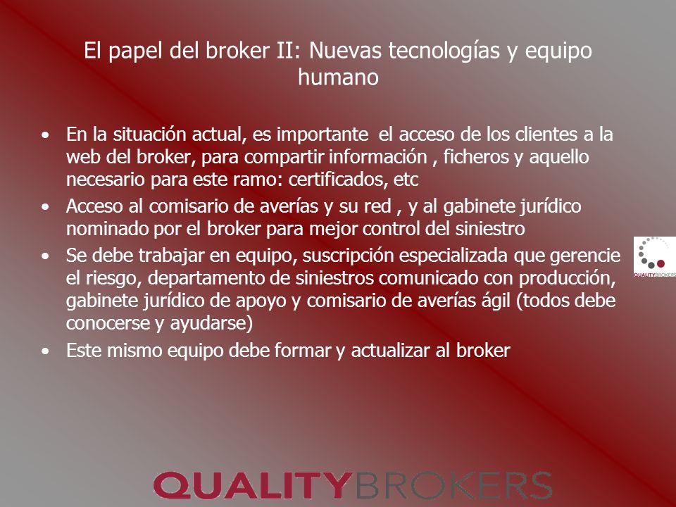 El papel del broker II: Nuevas tecnologías y equipo humano En la situación actual, es importante el acceso de los clientes a la web del broker, para c