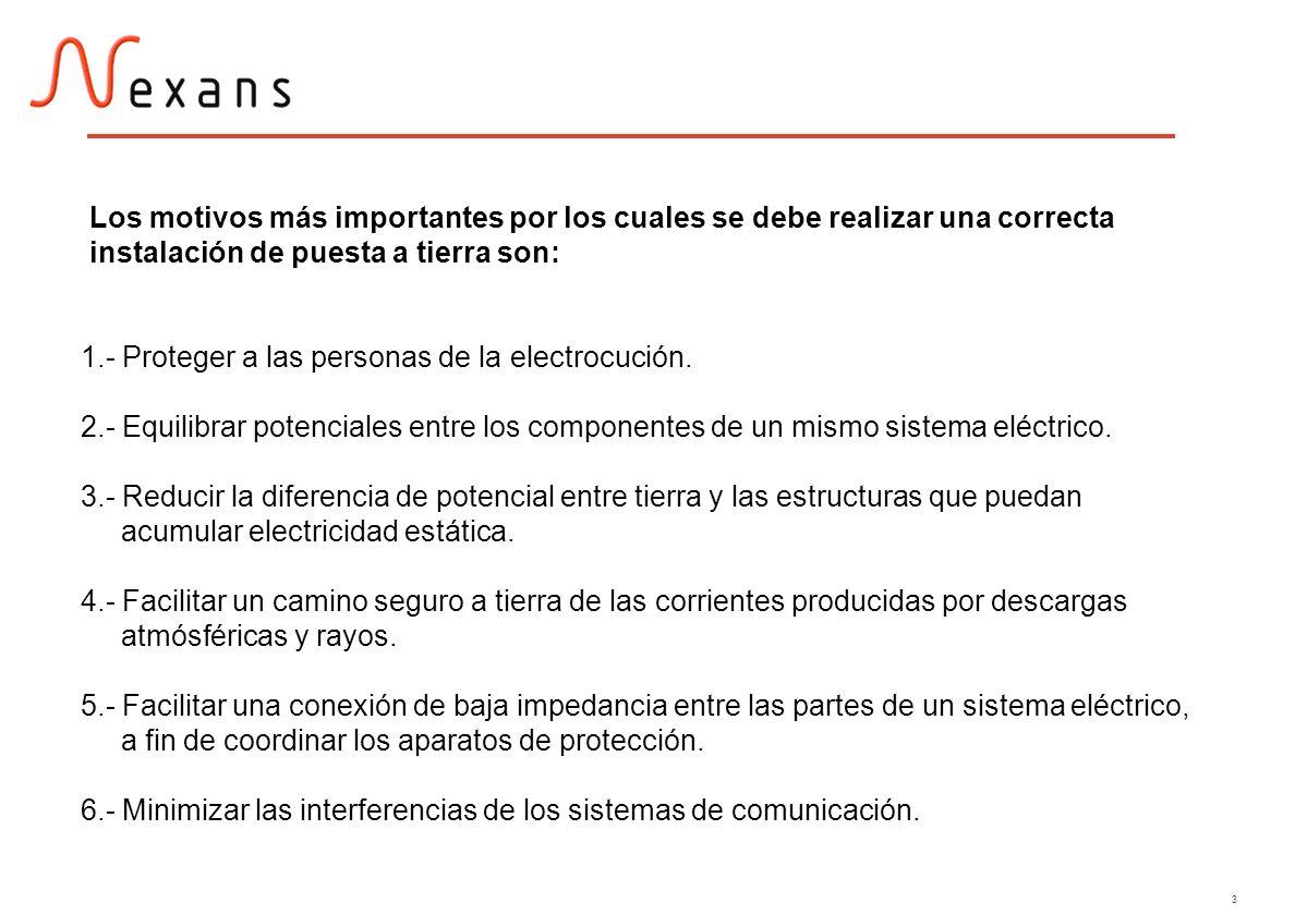 3 1.- Proteger a las personas de la electrocución. 2.- Equilibrar potenciales entre los componentes de un mismo sistema eléctrico. 3.- Reducir la dife