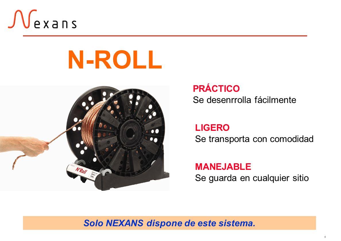 4 PRÁCTICO Se desenrrolla fácilmente LIGERO Se transporta con comodidad MANEJABLE Se guarda en cualquier sitio N-ROLL Solo NEXANS dispone de este sist