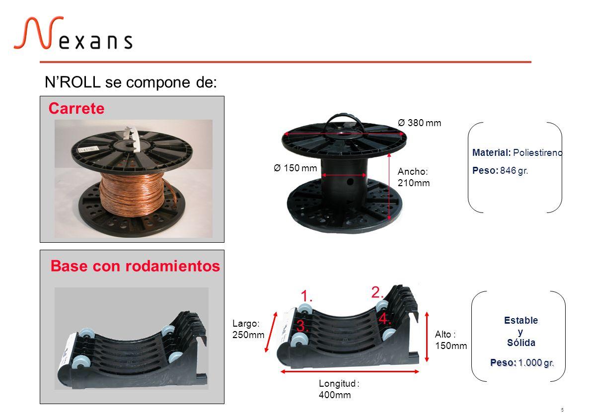 5 NROLL se compone de: Carrete Base con rodamientos Ancho: 210mm Ø 380 mm Ø 150 mm Material: Poliestireno Peso: 846 gr. Longitud : 400mm Largo: 250mm