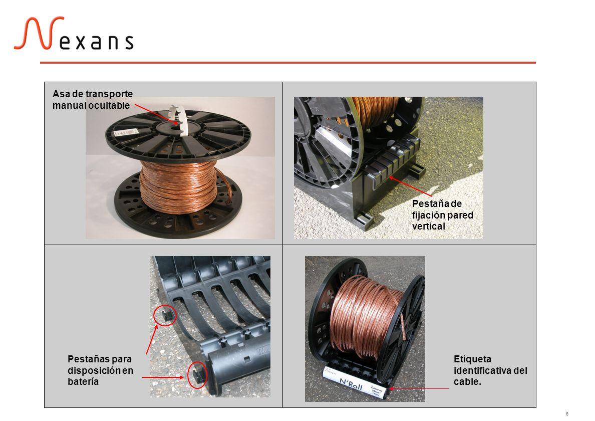 6 Pestañas para disposición en batería Asa de transporte manual ocultable Etiqueta identificativa del cable. Pestaña de fijación pared vertical