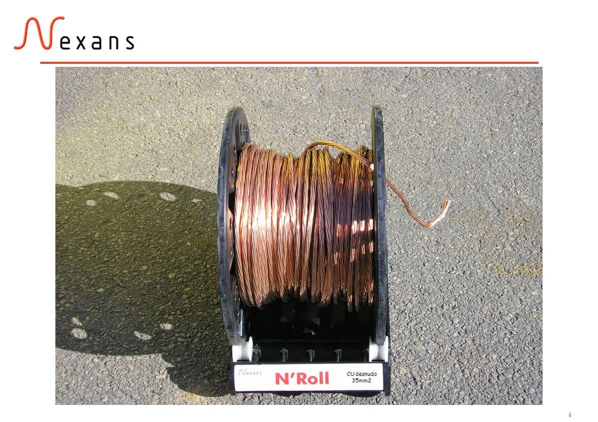 9 Hay dos únicas ofertas: El mismo carrete y la misma base con rodamientos NROLL Sección = 35mm2 1) 82m de cable NROLL Sección = 50mm2 2) 58m de cable 25 Kg de cobre en ambas ofertas