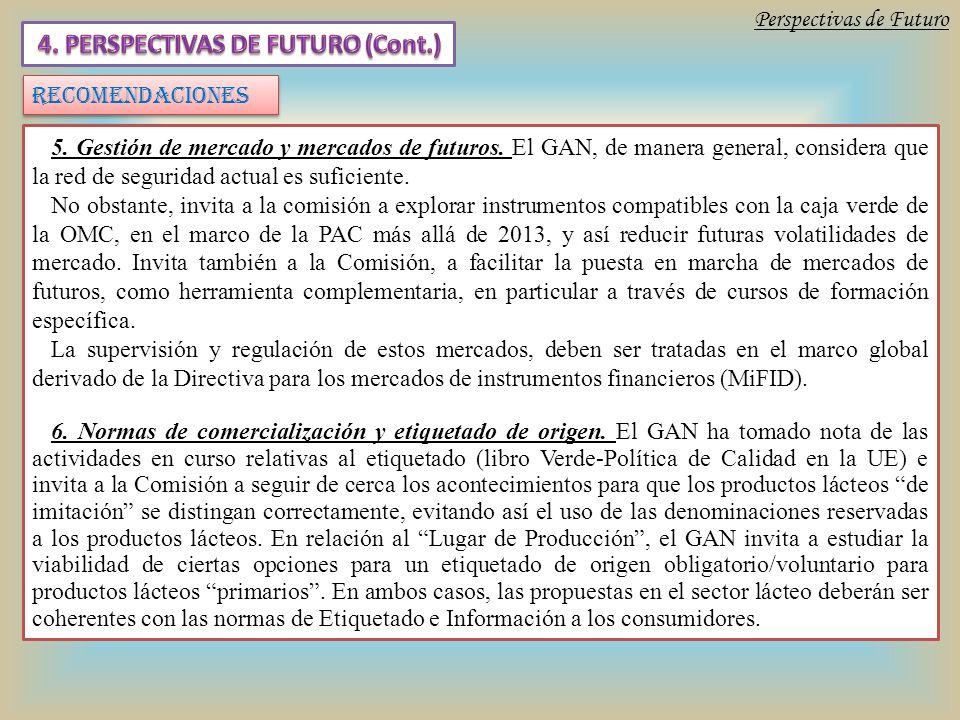 Perspectivas de Futuro RECOMENDACIONES 5. Gestión de mercado y mercados de futuros.