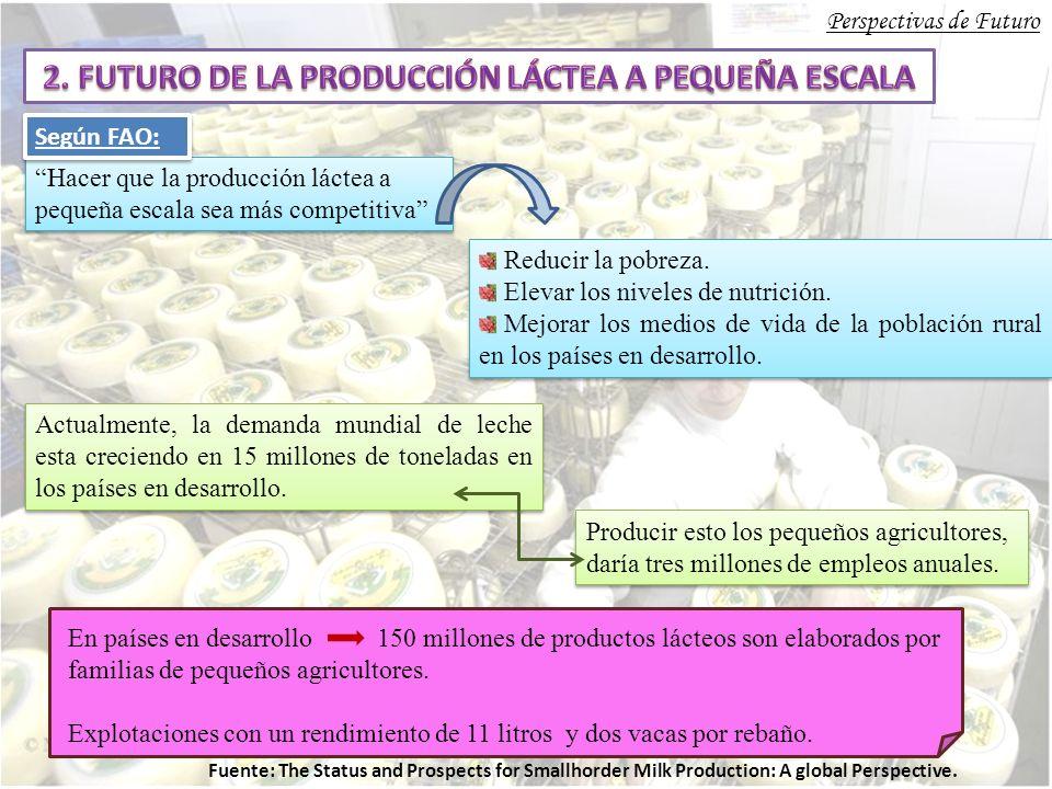 Perspectivas de Futuro Hacer que la producción láctea a pequeña escala sea más competitiva Reducir la pobreza.