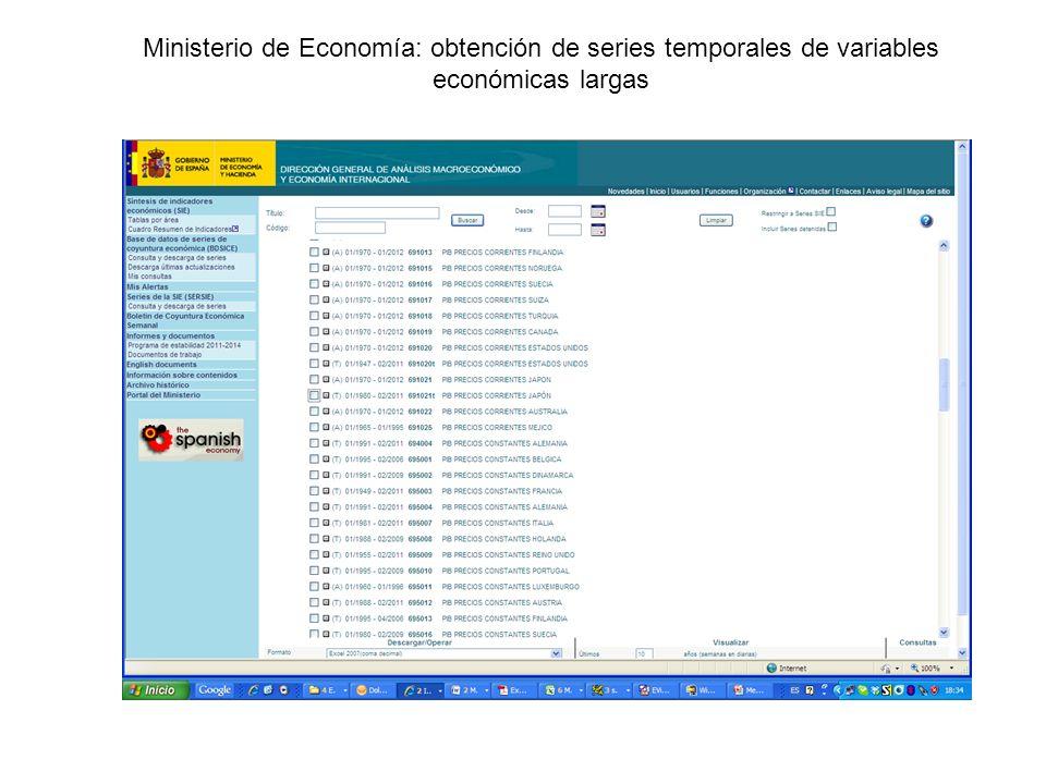 Ministerio de Economía: obtención de series temporales de variables económicas largas