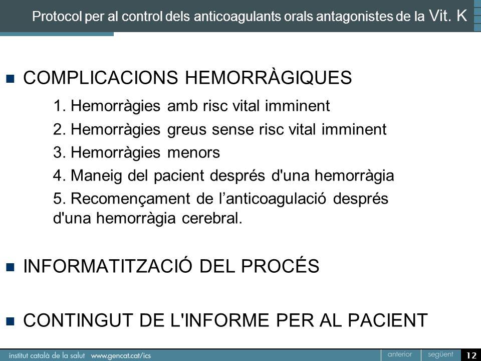 12 Protocol per al control dels anticoagulants orals antagonistes de la Vit. K COMPLICACIONS HEMORRÀGIQUES 1. Hemorràgies amb risc vital imminent 2. H