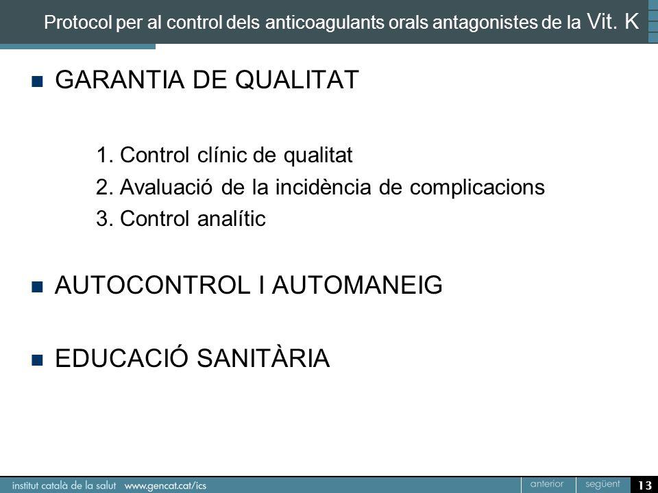 13 Protocol per al control dels anticoagulants orals antagonistes de la Vit. K GARANTIA DE QUALITAT 1. Control clínic de qualitat 2. Avaluació de la i