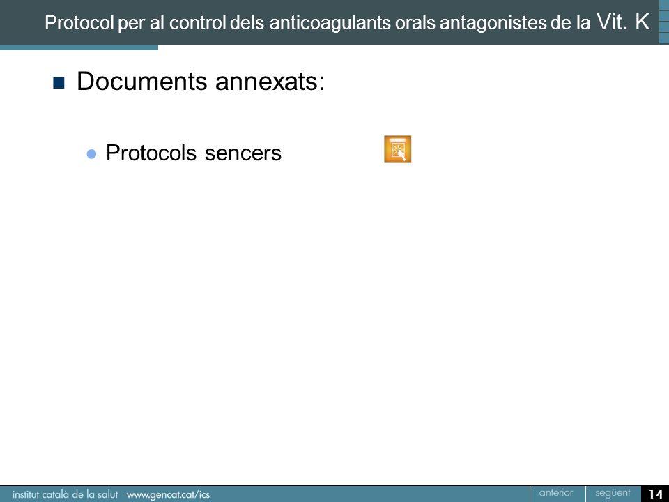 Documents annexats: Protocols sencers 14 Protocol per al control dels anticoagulants orals antagonistes de la Vit. K