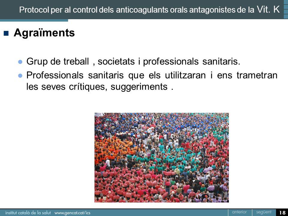 18 Protocol per al control dels anticoagulants orals antagonistes de la Vit. K Agraïments Grup de treball, societats i professionals sanitaris. Profes