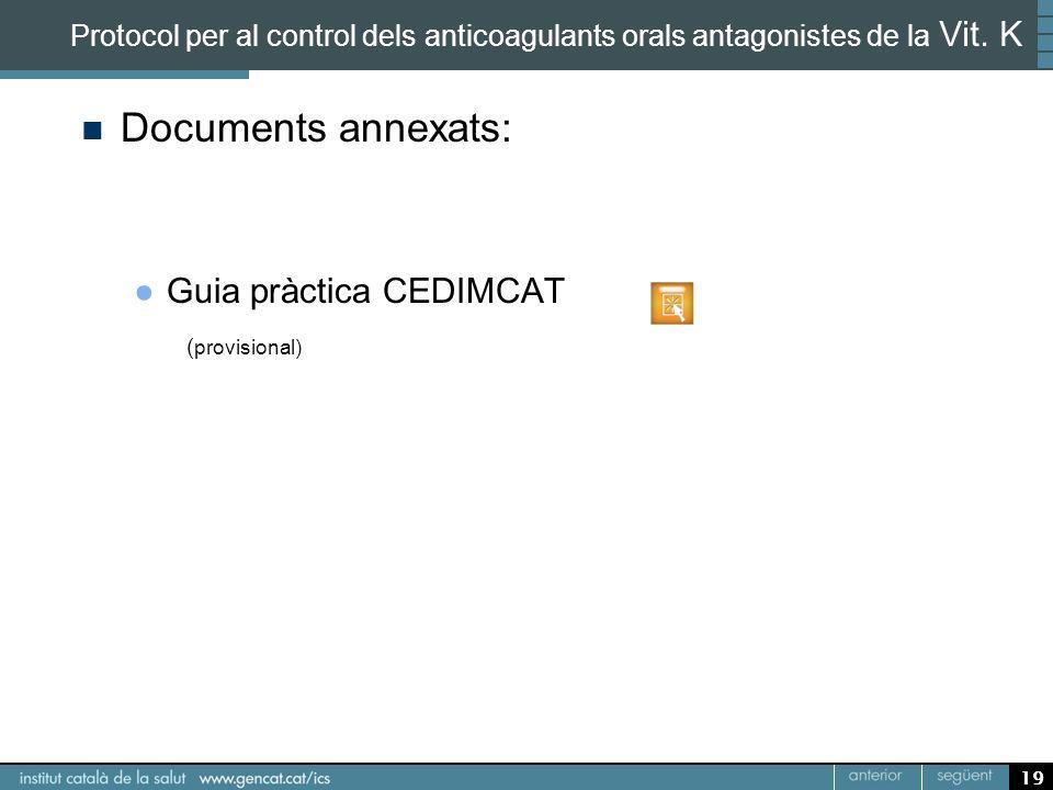Documents annexats: Guia pràctica CEDIMCAT ( provisional) 19 Protocol per al control dels anticoagulants orals antagonistes de la Vit. K