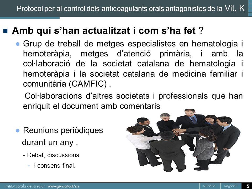 5 Protocol per al control dels anticoagulants orals antagonistes de la Vit. K Amb qui shan actualitzat i com sha fet ? Grup de treball de metges espec