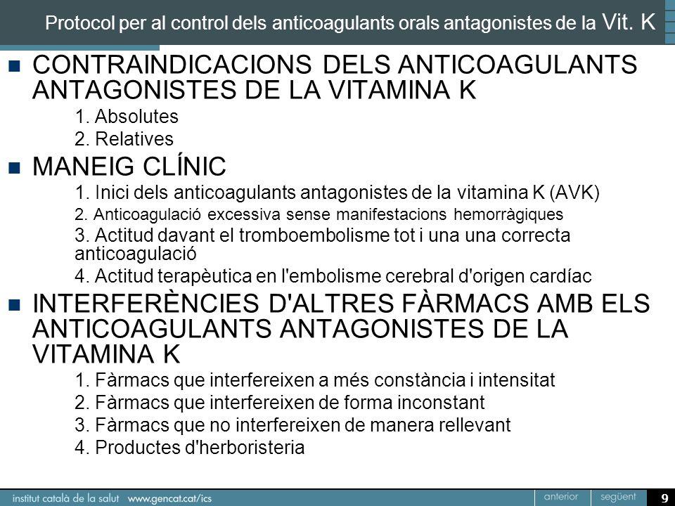 9 Protocol per al control dels anticoagulants orals antagonistes de la Vit. K CONTRAINDICACIONS DELS ANTICOAGULANTS ANTAGONISTES DE LA VITAMINA K 1. A