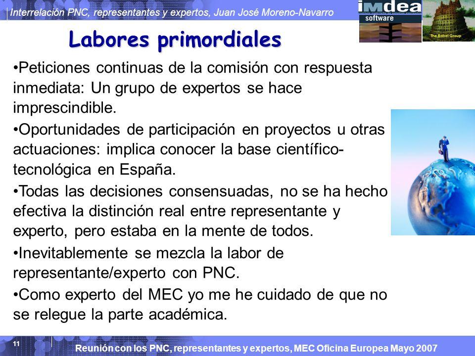Reunión con los PNC, representantes y expertos, MEC Oficina Europea Mayo 2007 Interrelación PNC, representantes y expertos, Juan José Moreno-Navarro 11 Labores primordiales Peticiones continuas de la comisión con respuesta inmediata: Un grupo de expertos se hace imprescindible.