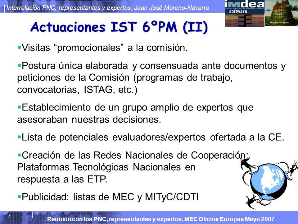 Reunión con los PNC, representantes y expertos, MEC Oficina Europea Mayo 2007 Interrelación PNC, representantes y expertos, Juan José Moreno-Navarro 7 Actuaciones IST 6ºPM (II) Visitas promocionales a la comisión.