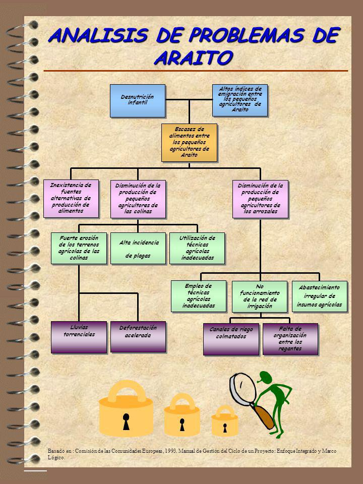ANALISIS DE PROBLEMAS DE ARAITO Basado en : Comisión de las Comunidades Europeas, 1993. Manual de Gestión del Ciclo de un Proyecto: Enfoque Integrado