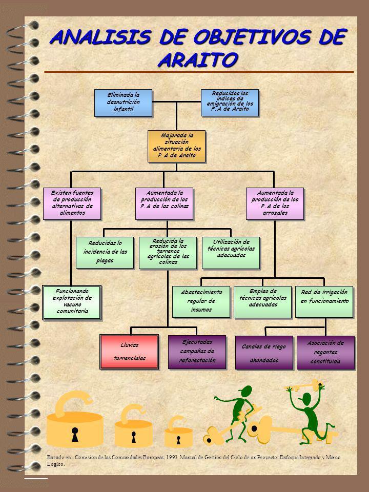 ANALISIS DE OBJETIVOS DE ARAITO Aumentada la producción de los P.A de las colinas Existen fuentes de producción alternativas de alimentos Aumentada la