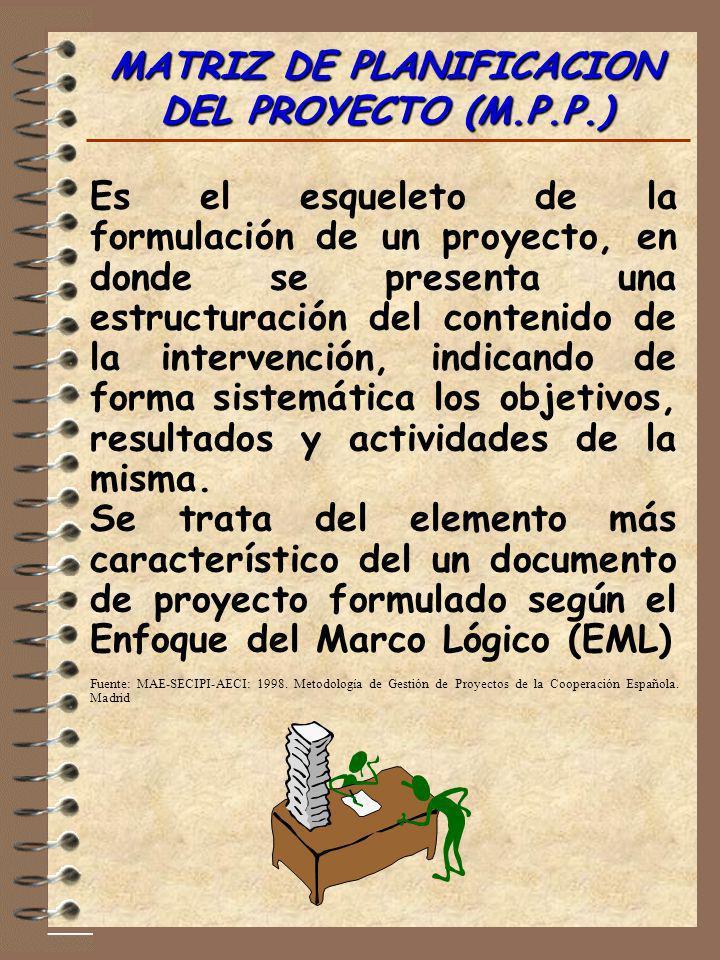 MATRIZ DE PLANIFICACION DEL PROYECTO (M.P.P.) Es el esqueleto de la formulación de un proyecto, en donde se presenta una estructuración del contenido
