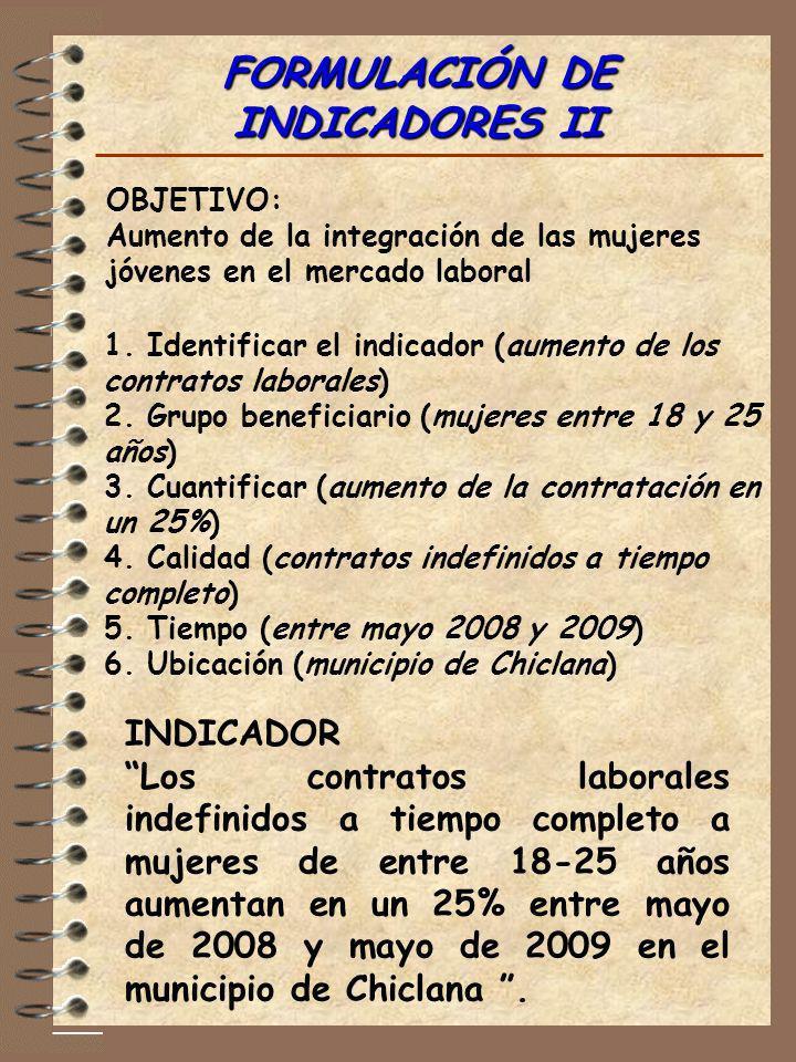 FORMULACIÓN DE INDICADORES II OBJETIVO: Aumento de la integración de las mujeres jóvenes en el mercado laboral 1. Identificar el indicador (aumento de