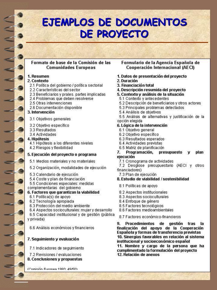 EJEMPLOS DE DOCUMENTOS DE PROYECTO