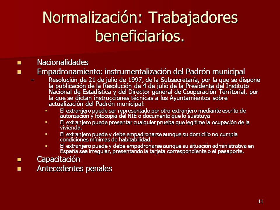 11 Normalización: Trabajadores beneficiarios. Nacionalidades Nacionalidades Empadronamiento: instrumentalización del Padrón municipal Empadronamiento: