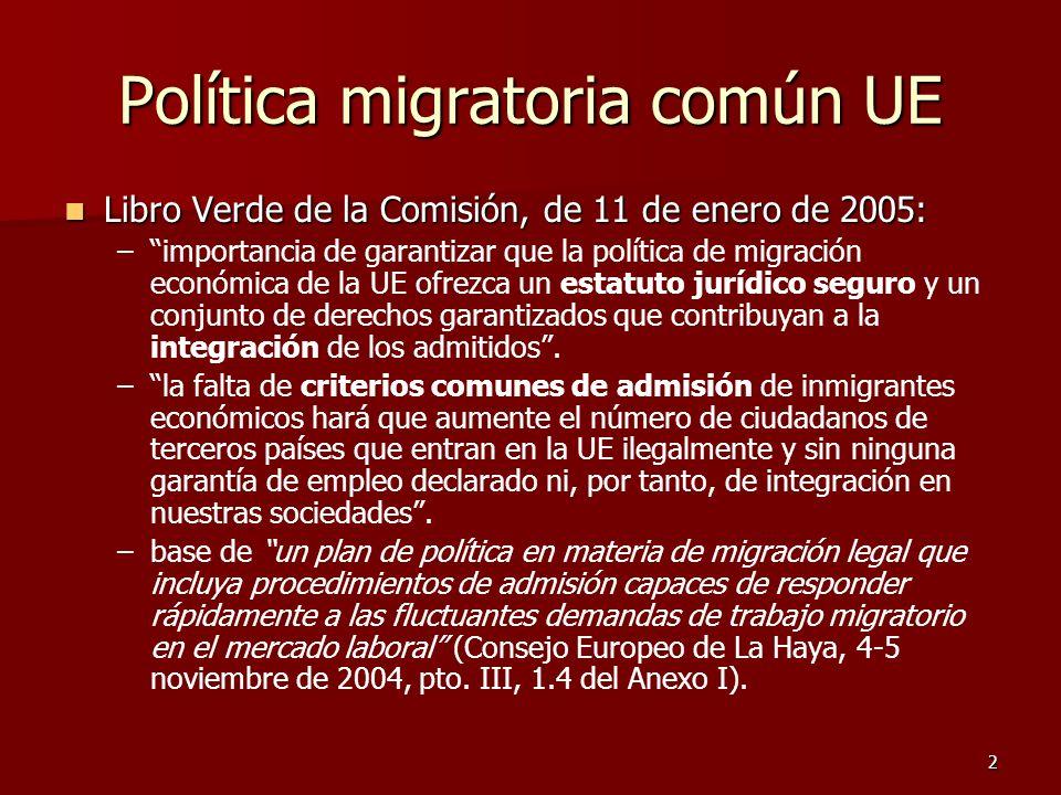 2 Política migratoria común UE Libro Verde de la Comisión, de 11 de enero de 2005: Libro Verde de la Comisión, de 11 de enero de 2005: – –importancia